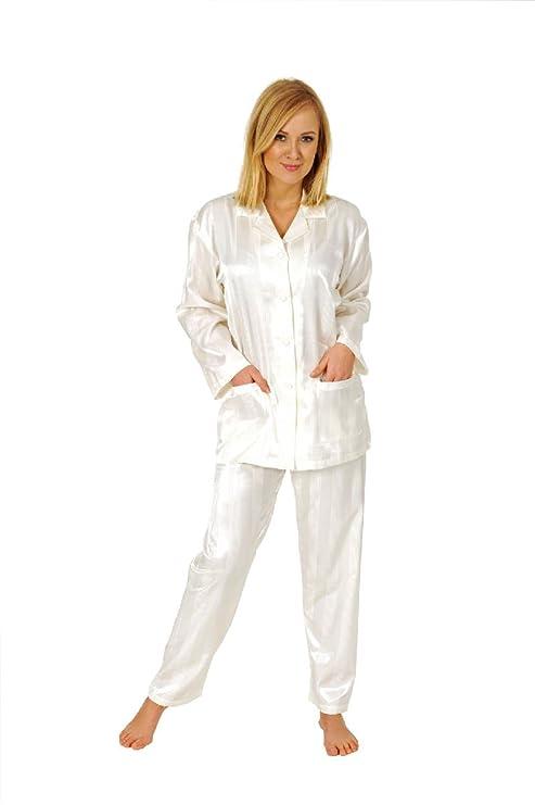 879d7efb675fbe Damen Satin Pyjama Schlafanzug Klassik Durchgeknöpft Streifen