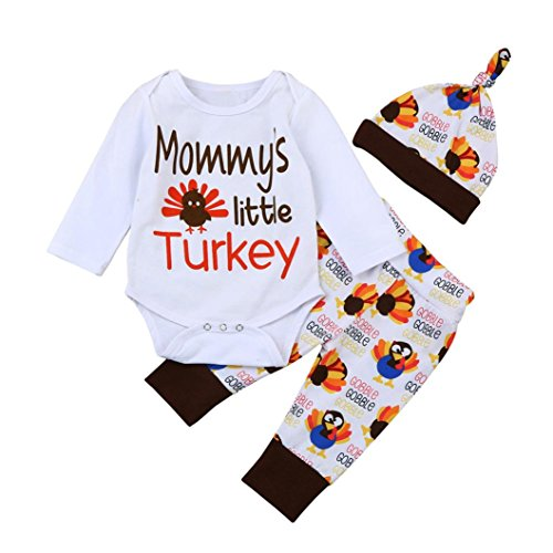 Cute Comfy Newborn Infant Baby Gobble Romper Tops+Pants+Hat Outfits Set Printing Mummy's Little Turkey by Keepfit (9M, White) -