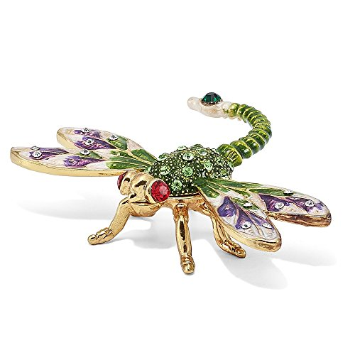 Jere Luxury Giftware Bejeweled Dewey Green Dragonfly, Pewter with Enamel Collectible Trinket Box with Matching Pendant Necklace