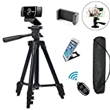 "Professional Camera Tripod Mount Holder Stand for Logitech Webcam C930 C920 C615,iPhone,Cellphone,Cameras with Cell phone Holder Clip and Remote Shutter -42""/Black"
