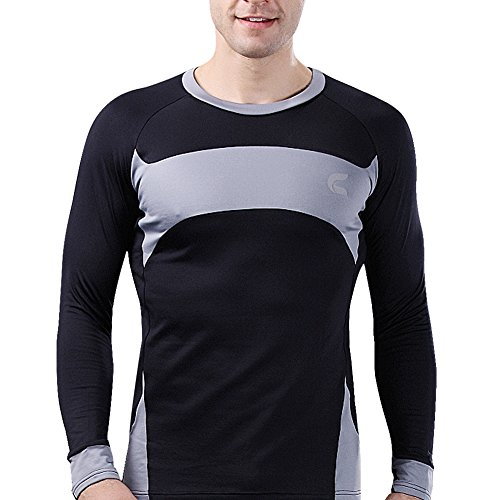 Baleaf Men's Thermal Long Sleeve Base Layer Black Gray-1 Size XXL