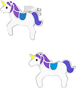Hypoallergenic Kids Sterling Silver Purple & Blue Unicorn Stud Earrings For Girls (Nickel Free)