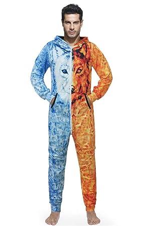 STEAM PANDA Mono Corto para Hombre Mono Todo en una Pieza Zip UP Hoody Pijamas -