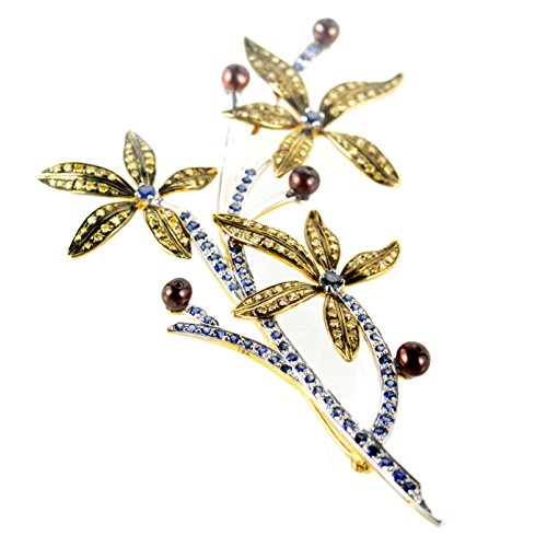 Brooch 18k Floral (Luxury Bazaar 18K Yellow Gold Multi-Gem Floral Branch Brooch)