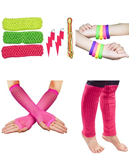 80S Outfit Costume Accessories Set Neon Earrings Leg Warmers Fishnet Gloves - Outfits Of The 80s