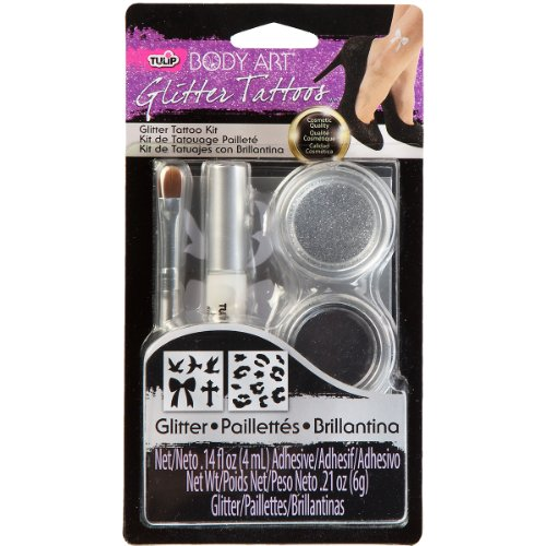 Discount Tulip Body Art Glitter Tattoo Kit, Silver free shipping