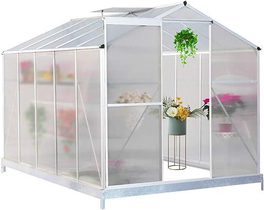 FIDOOVIVIA Invernadero de jardín de policarbonato con Marco de Aluminio Inoxidable para Plantas, Verduras, jardín y al Aire Libre con Ventana, Puerta corredera (4 pies x 6 pies, Trasero): Amazon.es: Jardín