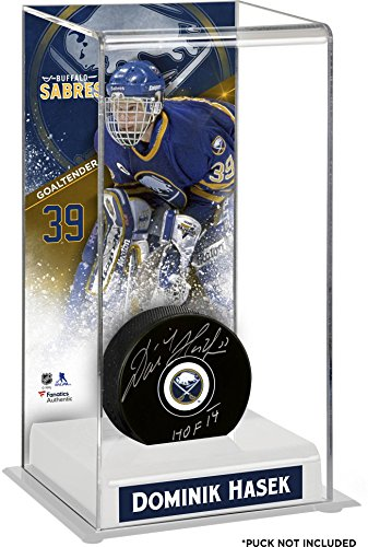 Dominik Hasek Buffalo Sabres Deluxe Tall Hockey Puck Case - Fanatics Authentic Certified - Hockey Puck Display Cases No Logo (5 Hockey Puck Display Case)