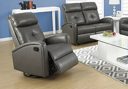 Leather Full Recliner Glider Swivel (Monarch I 8088Gy Swivel Glider Recliner, Charcoal Grey)