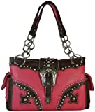Montana West Faux Leather Satchel Purse Western Buckle with Rhinestone Handbag- Available in 2 Colors (Hot Pink), Bags Central