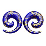 PiercingJ 2-28pcs RoyalBlue Golden UV Acrylic Spiral Snail Tapers Plug Sizes 14G-3/4 Taper Ear Stretching Kit Ear Gauges Plugs Kit