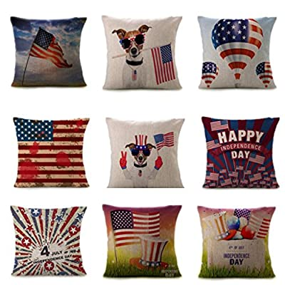 July 4th Patriotic Vintage American Flag Pillow Case Cotton Linen Cushion Cover Couch Throw Pillow Case Sofa Home Decor Patio Pillow Cover, Hidden Zipper Closure