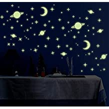 glow-in-the-dark decal set,SKYLOVE Removable DIY Creative Night Luminous Stars Moon Fluorescent Wall Stickers Wall Decals Toy Games for Kids Bedroom Glow In The Dark Star Wallpapers,3-Pack (Planet)