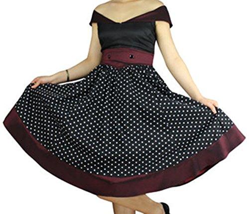 -Glamour Girl- Vintage Style 40s 50s Retro Polka Dot White Black Burgundy Dress (Medium)