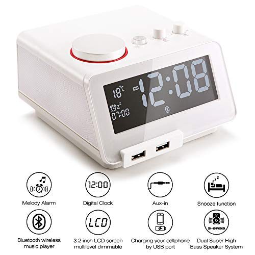 Homtime Alarm Clock USB Charger - Senior Multi-Function - Digital FM Radio Snooze Function Bluetooth Hands-Free Calling Wireless Dual USB Charger White Designed for Bedroom Office (Best Ipod Docking Station With Dab Radio)