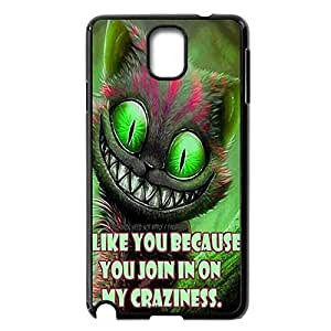 DIY Hard Back Case Skin with Cheshire Cat Quotes We Are All Mad Here for Samsung Galaxy Note 3 III N9000 -Black030906
