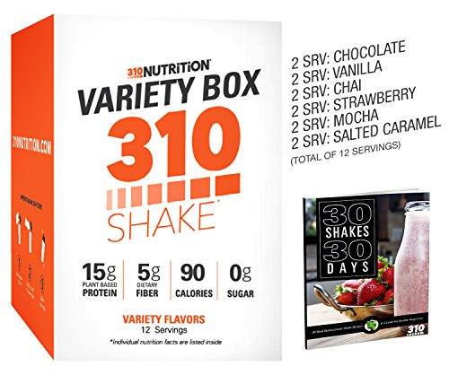 310 Shake Variety Box - 12 Individual Servings - Find Your Favorite Flavor, Choose from Chocolate, Vanilla, Vanilla Chai, Strawberry, Mocha, and Salted Caramel (Variety Box 1)