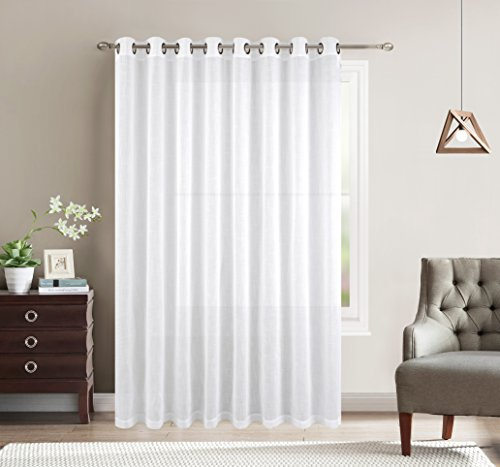 Cheap  Grommet Linen Look Sheer Curtain - 1 Extra Wide Patio Curtain Panel..