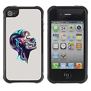 Planetar® ( Colorful Abstract Head ) Apple iPhone 4 / 4S Hybrid Heavy Duty Shockproof TPU Fundas Cover Cubre Case
