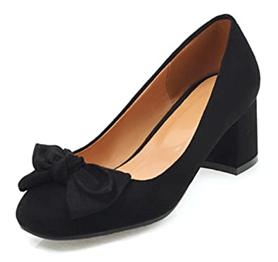 3ef77b8c47 Aisun Women's Round Toe Pumps with Bow - Cute Block Shoes Low Cut - Slip On