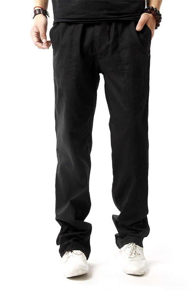FASKUNOIE Men's Linen Casual Trousers Loose Fit Summer Soft Chino Pants Black with Pockets