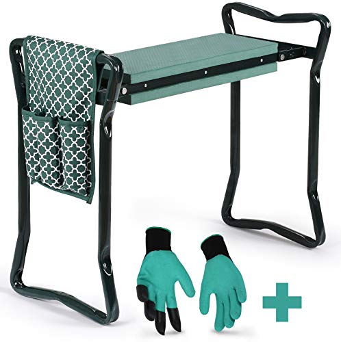 Garden Kneeler And Seat - Protects Your Knees, Clothes From Dirt & Grass Stains - Foldable Stool For Ease Of Storage - EVA Foam Pad - Sturdy and Lightweight - Bench Comes With A Free Tool Pouch! (Kneeler Garden Stool)