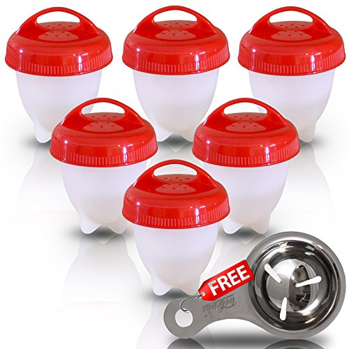 Toolicious Egg Cooker Set –Hard And Soft Boiled Eggs Without The Shell, Silicone Boiler Cups, Non-Stick For Easy Pop Out, BPA Free Safe Egg Steamer For Healthy Cooking - With Egg Separator Spoon