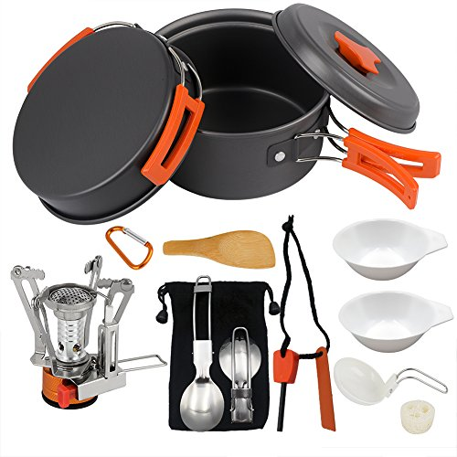 Camping Cookware Set Hiking backpacking Gear & Camping Outdoors Survival Utensils Cooking Equipment 15 Piece Cooking pots | Mini Non-stick pan , Lightweight ,Best Camping Gear Mess kit