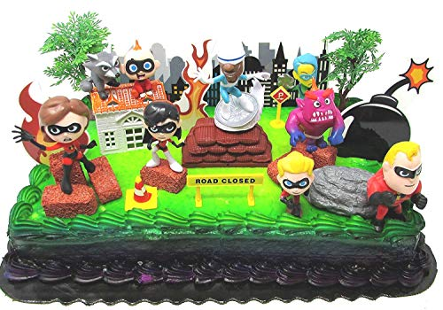The Incredibles Deluxe Birthday Cake Topper Set Featuring In