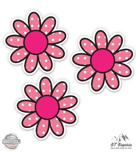 Flowers Helmet - Pink Polka Dot Daisies Flowers Simple Hippie - 2