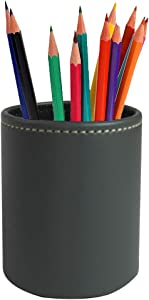 LIZIMANDU Leather Office Pencils Holder,Round Pen Cup Remote Desk Accessories Organizer Desktop Stationery Container Box for Home Office Bedroom(1 Pack,1-Grey2)