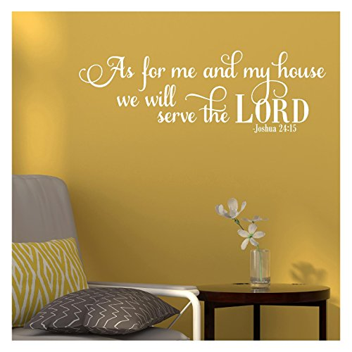 Lettering White (As for Me and My House We Will Serve the Lord Joshua 24:15 Vinyl Lettering Wall Decal Sticker (12