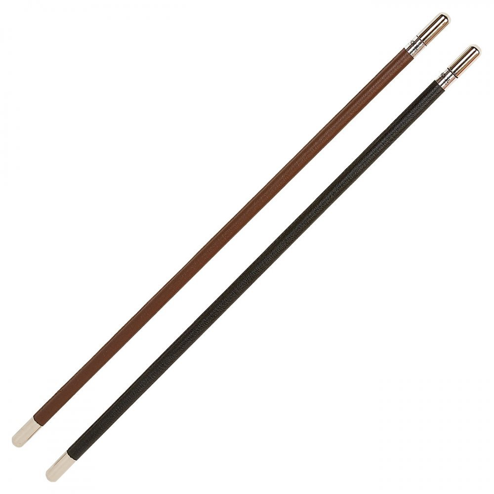Hy School Leather Show Cane With Silver Caps Brown