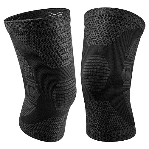 CAMBIVO 2 Pack Knee Brace, Knee Compression Sleeve Support for Running, Arthritis, ACL, Meniscus Tear, Sports, Joint Pain Relief and Injury Recovery (Medium, Ns60 Black)