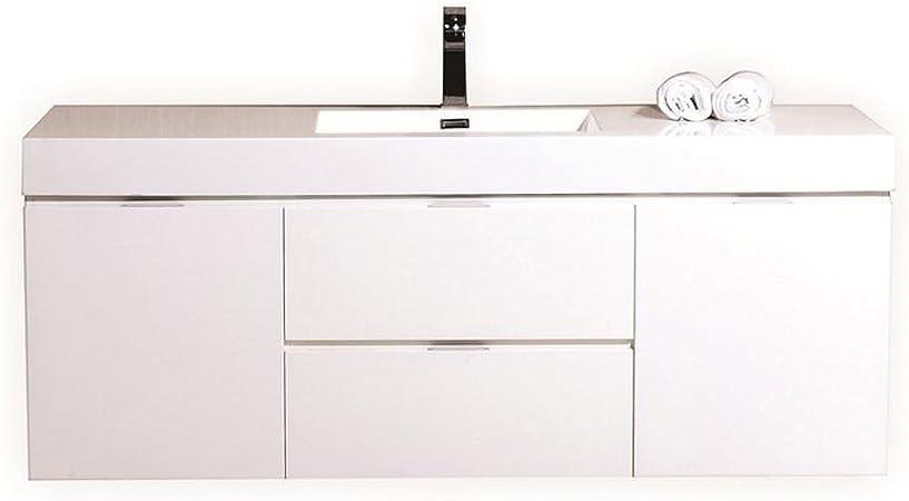 Kubebath Bliss 60 Single Sink High Gloss White Wall Mount Floating Modern Bathroom Vanity