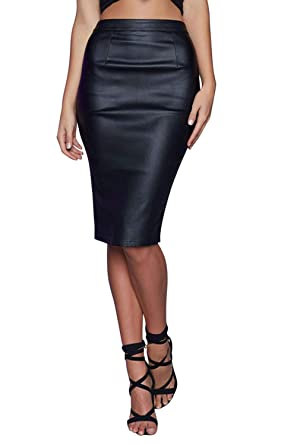 Wählen Sie für späteste 100% Spitzenqualität super günstig im vergleich zu Jolisson Damen Rock PU-Leder Bodycon Bleistift Rock Wetlook ...