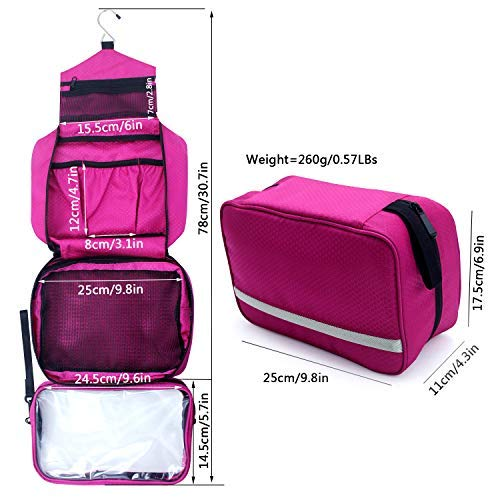 Toiletry Bag,Hanging Toiletry Bag With Detachable TSA Approved Portable Clear PVC Pouch Waterproof Multifunction Travel Toiletry Bag for Men & Women(Hot Pink)