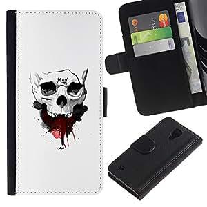 Stuss Case / Funda Carcasa PU de Cuero - Cráneo de la sangre - Samsung Galaxy S4 IV I9500