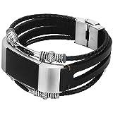 somoder For Fitbit Charge 2 Bands, Handmade Vintage Fashion Alloy Leather Bracelet for Fitbit Charge 2, Adjustable Size 5.5'' - 8.5''