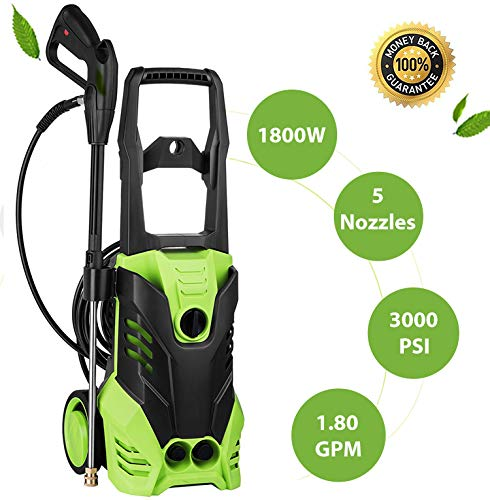 Voluker Electric Power Pressure Washer, 1800W Rolling Wheels High Pressure Power Washer, Professional Cleaner Machine with Power Hose Gun + (5) Interchangeable Nozzles