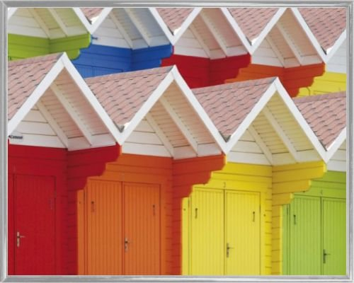 1art1 Huts Poster Art Print and Frame (Plastic) - Colourful Beach Huts in Scarborough, UK (20 x 16 ()