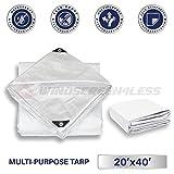 Windscreen4less 20' x 40' Heavy Duty 10 Mil Waterproof White Poly Tarp