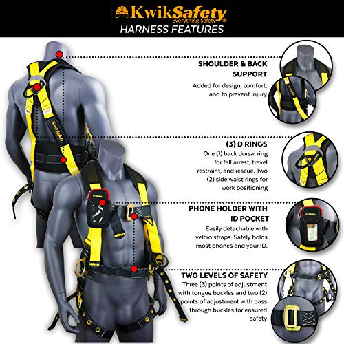 KwikSafety (Charlotte, NC) TYPHOON KIT | 3D Full Body Tongue Buckle w/Back Support Safety Harness, Bolt Pouch, 6' Lanyard, Tool Strap, 3' Anchor ANSI PPE Fall Protection Equipment Construction Bucket by KwikSafety (Image #3)