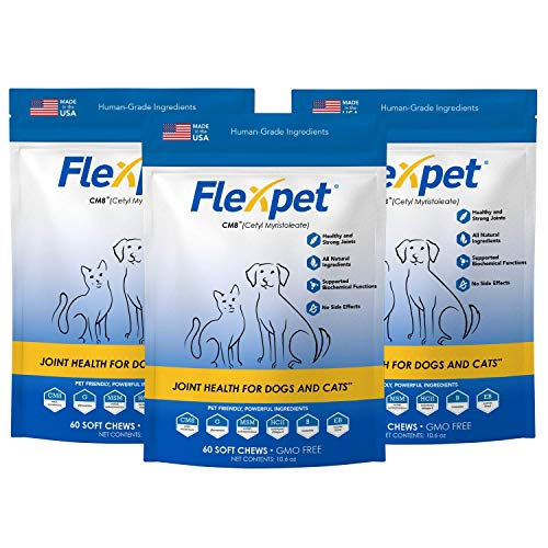- Flexpet Maximum Strength Soft Chews - All-Natural Pain Reliever for Dogs with Glucosamine and Cetyl Myristoleate (CM8), Hip and Joint Supplement, Anti-Inflammatory: Three Pack - 180 Soft Chews