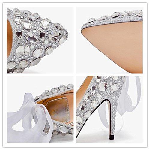 Krystal Hæle Hæle Bureaukrati Sko Tynde Høje 5 Efterligning Nbwe Diamant Brude 7 Bruden Cm v8qISd