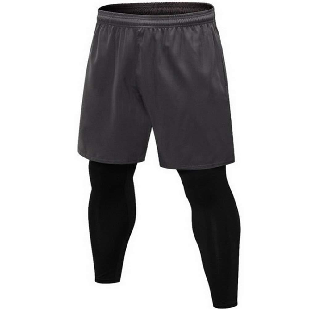 LFEU Schwarze dünne Laufhose gefälschte 2 Stück Männer Basketball Laufhose Training Gym elastische Jogginghose