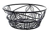American Metalcraft (BLLB94) 9'' Leaf Design Wrought Iron Round Bread Basket