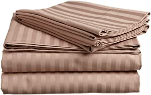 Incredible Beddings Queen Size Top Selling Hotel Luxury 1500 Thread Count Heavy Egyptian Cotton Sheets Set 4-PCs Queen Size (60x80) Mattress Fits 7-9 Inch Deep Pockets (Stripe, Taupe)
