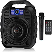 EARISE T26 Portable Karaoke Machine Bluetooth Speaker with Wireless Microphone, Rechargeable PA System with FM