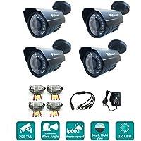 iSmart 4-pack 800TVL 960H Color IR-Cut Surveillance CCTV Camera Kit, Weatherproof Outdoor Indoor Use, 3.6mm Wide Range Lens, with 24 IR Leds, C1030DP84